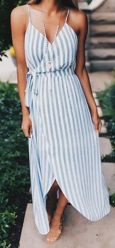 #summer #outfits Blue Striped Wrap Maxi Dress // Shop this outfit in the link