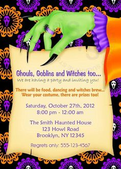 Scary invitation wording ideas and samples for halloween party at printable halloween birthday party invitation custom personalized digital file diy printable filmwisefo