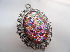 Multicoloured Glitter Nail Polish Necklace - 'Glitter Bomb' Handmade Sparkly Silver-plated Rainbow Flake Nail Varnish Pendant Jewelry