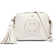 Anya Hindmarch Smiley perforated leather shoulder bag (3.625 BRL) via Polyvore featuring bags, handbags, shoulder bags, white, white purse, crossbody shoulder bags, leather cross body purse, crossbody purse e crossbody handbags