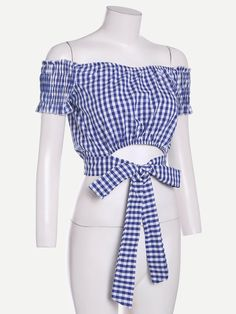 Online shopping for Checkered Tie Waist Crop Top from a great selection of women's fashion clothing & more at MakeMeChic. Crop Tops Online, Black Sleeveless Top, Looks Chic, Blouse Styles, Cute Fashion, Women's Fashion, Shirt Blouses, Blouses For Women, Fashion Dresses