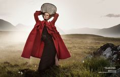 Stephanie Hall in Dior Red Coat by Dan Smith for Harpers Bazaar China December 2013