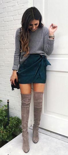 #winter #outfits women's gray long-sleeved shirt