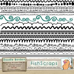 Border Doodle Clip Art and Photoshop Brushes  Hand Drawn Borders, Edges.  Swirls, Zig Zag, Scallop, Dashed, Dotted
