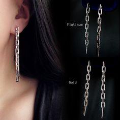 High quality hollow retro chain jewelry micro inlays chain zircon light luxury temperament high-grade long big earrings fall Tre