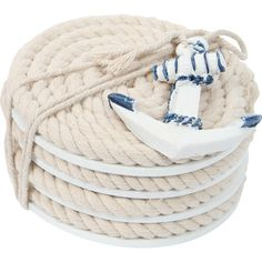 Protect your coffee table in nautical style with this rope coaster, complete with an anchor charm.  Product: Set of 4 coasters