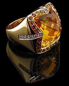 Citrine Checkerboard cut Ring with Diamonds