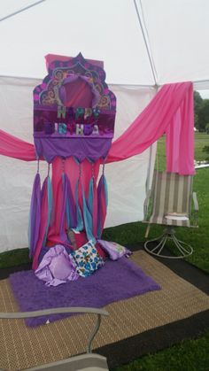 Moroccan theme: Shimmer and Shine Birthday.  Used cut up/braided tablecloths for decor