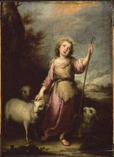 """""""For over all,his glory will be shelter and protection:shade from the parching heat of day,refuge and cover from storm and rain."""" Isaiah 4:6 // The Young Christ as the Good Shepherd / El joven Cristo como Buen Pastor // Workshop of Bartolomé Esteban Murillo // #Jesus"""