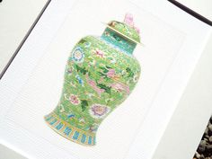 Chinoiserie Porcelain Ginger Jar with Dragon in Mint Green & Pink Floral Antique Illustration