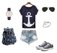 """""""Marine"""" by nataliazagorna on Polyvore featuring One Teaspoon, Converse, Ray-Ban, Aéropostale and Kate Spade"""