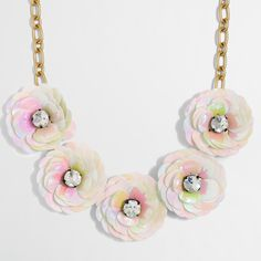 Crew Factory for the Sequin flower burst necklace for Women. Find the best selection of Women Jewelry available in-stores and online. J Crew Necklace, Locket Necklace, Collar Necklace, J Crew Jewelry, Jewelry Necklaces, Jewellery, Collar Floral, Sequin Crafts, Skirts With Boots