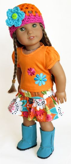 Silly Monkey - Orange Top, Orange Floral Skirt, and Crochet Flower Hat, $20.99 (http://www.silly-monkey.com/products/american-girl-doll-quirky-skirt-set.html)