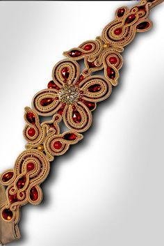 Soutache ceinture ceinture bracelet or rouge robe de