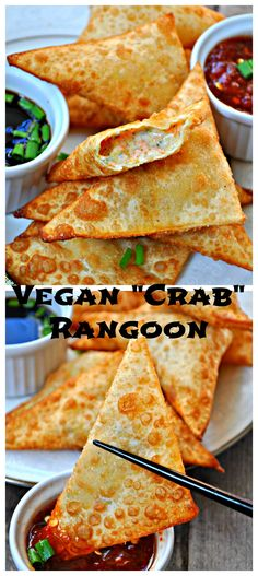 Vegan Crab Rangoon made with vegan cream cheese and carrots! Vegan Foods, Vegan Snacks, Vegan Dishes, Vegan Apps, Vegan Lunches, Aperitivos Vegan, Plat Vegan, Whole Food Recipes, Cooking Recipes