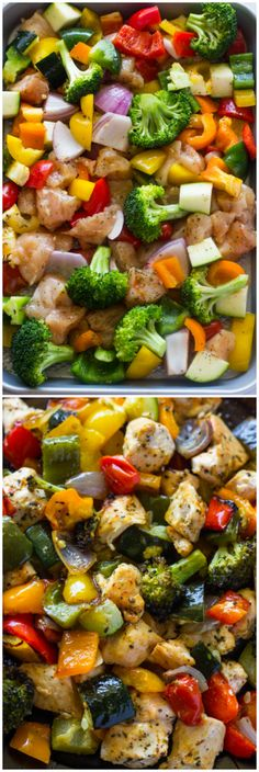 Healthy and flavorful. Oven roasted chicken breasts and rainbow veggies are tender & juicy and ready in 15 minutes. This is a long time favorite recipe of mine