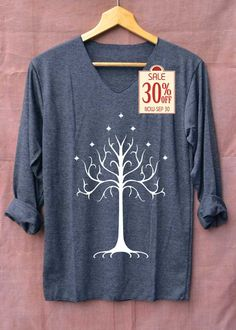 White tree of gondor Shirt Lord of the Ring Shirts Long Sleeve Unisex Adults Size S M L by topsfreeday on Etsy