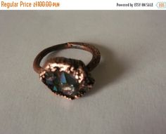quartz crystals  copper ring copper jewelry cristal by fripperyart