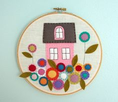 little pink house with flowers