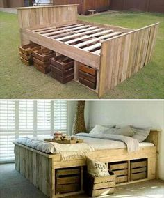 How to build a beautiful DIY bed frame & wood headboard easily. Free DIY bed plan & variations on king, queen & twin size bed, best natural wood finishes, and lots of helpful tips! - A Piece of Rainbow Sweet Home, Diy Casa, My New Room, Wood Pallets, Recycled Pallets, Wooden Crates, Wooden Pallet Beds, Pallet Bed Frames, Milk Crates