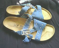 b1496a6ece16e Betula by Birkenstock Nubuck Blue Crystal Bling Sandals NEW! Bling Sandals