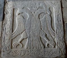 Marble relief of a double-headed eagle in the Church of St Demetrios in the Byzantine city of Mystras, marking the spot where Constantine XI was crowned. He is considered the last Byzantine Emperor, ruling as a member of the Palaiologos dynasty from 1449 to his death in 1453.