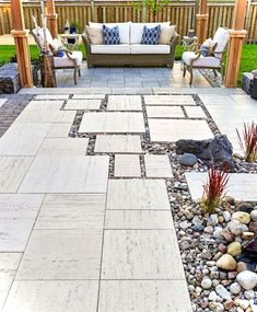 The post Backyard Patio Design Ideas 2019 appeared first on Patio Diy. Garden Pavers, Patio Slabs, Paver Walkway, Patio Stone, Stone Patios, Stone Backyard, Concrete Backyard, Garden Path, Stone Patio Designs