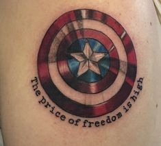 """New tattoo! """"The Price of Freedom is High"""" -Captain America From AWOL Ink in Des Moines Iowa Nerdy Tattoos, Marvel Tattoos, Body Art Tattoos, Tatoos, Cool Tattoos, Captain America Tattoo, Little Tattoos, Compass Tattoo, Iowa"""