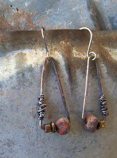 rustic oxidized copper triangle hoop earrings by StudioLunaVerde, $38.00