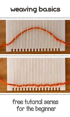 Learn to weave on a small frame loom, this is the first in a series of free tutorials for beginning weavers. You can get this cute little loom for your own, too! Weaving Projects, Weaving Art, Weaving Patterns, Tapestry Weaving, Loom Weaving, Hand Weaving, Stitch Patterns, Knitting Patterns, Rug Loom