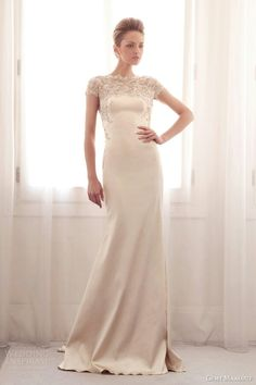 Beautiful Open Back Creamy Satin Sheath Gown Featuring Beaded Embroidered Lace ---- Gemy Maalouf Bridal 2014>>>>