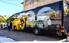 AEK FC bus Volvo, Buses, Vehicles, Sign, Google, Busses, Car, Signs, Board