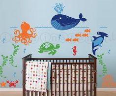 nautical and ocean decals for walls | Ocean Friends, Under the Sea Wall Decal for Nautical Theme Nursery ...
