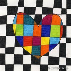 Herzliche Grüße zum Muttertag Art Plastique, Art Education, Middle School Art, Art School, Diy For Kids, Crafts For Kids, Valentines Art, Ecole Art, Heart Art