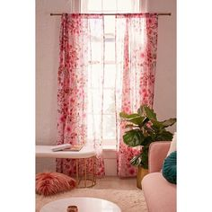 Lovise Floral Window Curtain (3705 RSD) ❤ liked on Polyvore featuring home, home decor, window treatments, curtains, flower pattern curtains, semi sheer curtains, urban outfitters curtains, floral window treatments and floral pattern curtains