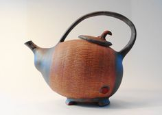Brown Stoneware teapot personal teapot Japanese by TeahousePottery, $75.00