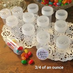 "24 Small 2"" Poly Container 3/4oz Pill Bottles Clear Screw Cap DecoJars #3309 USA #DecoJars"