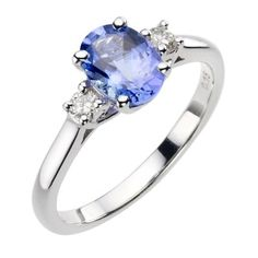 18ct white gold certificated tanzanite and diamond ring - Ernest Jones