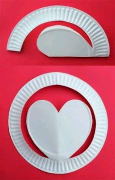 Paper Plate Heart craft for kids. Kids can color and embellish to their liking and even add string to hang.