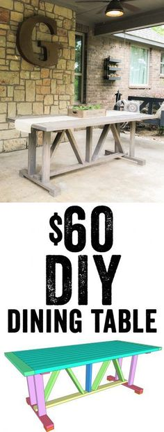LOVE this DIY Dining Table! Free plans and tutorial! Only $60 in lumber to build... Yes! www.shanty-2-chic.com