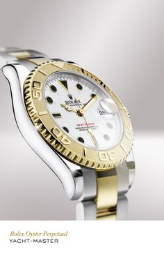 Rolex Yacht-Master 35 mm in 904L steel and 18 ct yellow gold with a white dial and Oyster bracelet. #Yachting #RolexOfficial