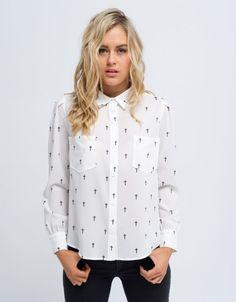 All About Eve Cross My Heart Shirt White