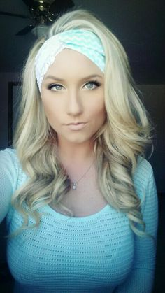 Teal Chevron with white lace twist headband by TheWoodenAntler, $15.00 Blonde hair perfect curls make up eye shadow eyelashes skin foundation cute beautiful