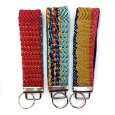 New to pidgepidge on Etsy: Atlanta   Chevron Keychain Trio   Gift Set of 3 Women's Woven Key Fob Wristlets   Handwoven Key Fob Bundle   Modern Colorful Key Chains