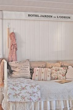 I like these light pinks with flower patterns for a girls room