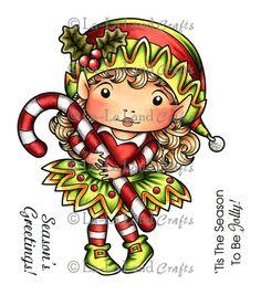 "La-La Land Cling Mount Christmas Stamp 4.5""X3.5""-Elf Marci"