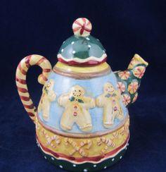 Sakura Debbie Mumm Christmas Gingerbread Mini Teapot Tan Blue Green Red | eBay
