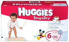 Huggies Snug & Dry Diapers, Size 6, Giant Pack, 100 Count by Huggies. $34.25. Amazon.com Product Description      HUGGIES Snug & Dry Diapers, Size 6 Giant Pack, 100-CountAt a Glance:   HUGGIES Snug & Dry Diapers have a SnugFit waistband and unique tabs for a secure fitSpecial layer to lock wetness away and help keep your baby dryAdorable graphics featuring Mickey & Friends Disney designsSize 1: Up to 14 poundsSize 2: 12 to 18 poundsSize 3: 16 to 28 poundsSize ...
