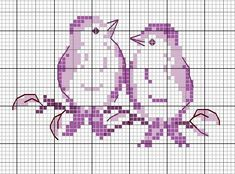 two birds on a branch free cross stitch pattern Cross Stitch Love, Cross Stitch Animals, Cross Stitch Charts, Cross Stitch Designs, Cross Stitch Patterns, Cross Stitching, Cross Stitch Embroidery, Embroidery Patterns, Hand Embroidery