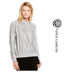 Vince Camuto Silver Crackled Sweatshirt NWT This playful long sleeve sweatshirt bubbles in a hot metallic silver shade. Crackled, stonewashed, foiled design. No trades no PayPal. Vince Camuto Tops Sweatshirts & Hoodies
